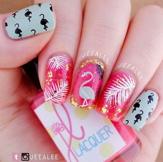 53 Tropical Flamingo Nail Art Ideas - Kornelia Beauty