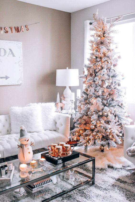 36 Rose and Gold Christmas Tree Decorating Ideas 2018 - Page 25 of 36 - Kornelia Beauty