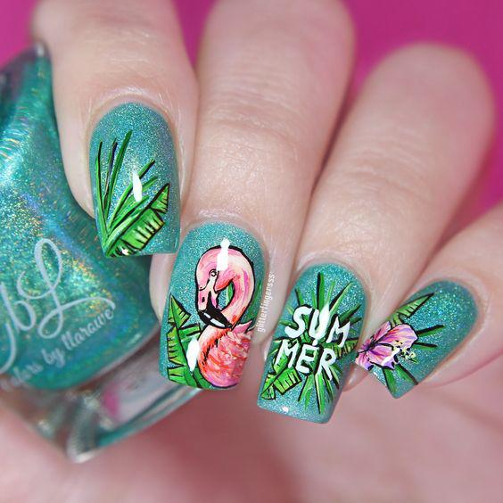 53 Tropical Flamingo Nail Art Ideas - Page 43 of 53 - Kornelia Beauty