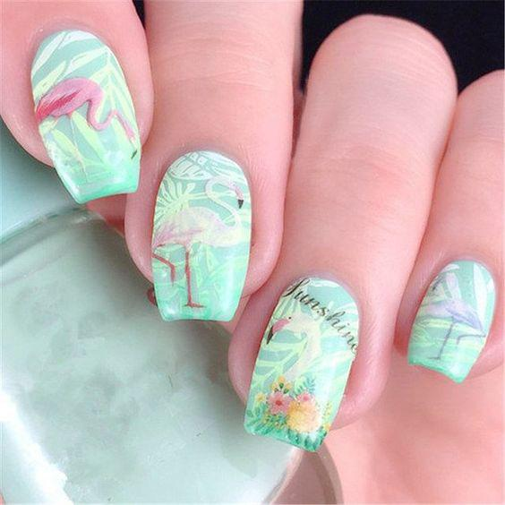 53 Tropical Flamingo Nail Art Ideas - Page 3 of 53 - Kornelia Beauty
