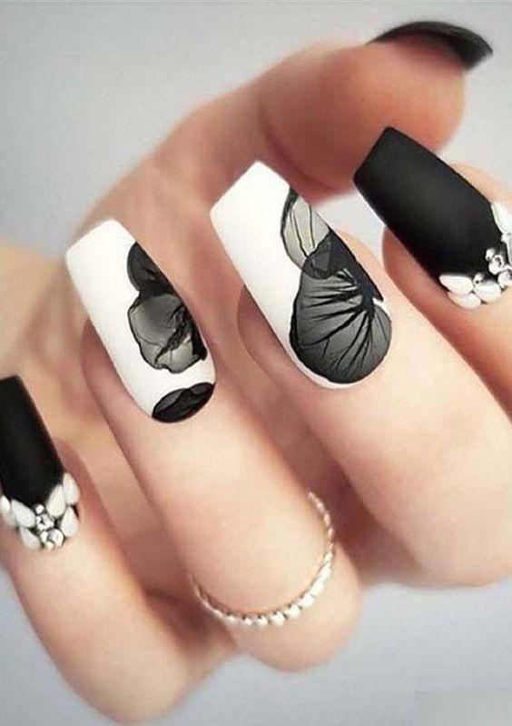 35 Elegant Black and White Nails You Need to Try nails, nail design, white nails, black nails, black and white nails