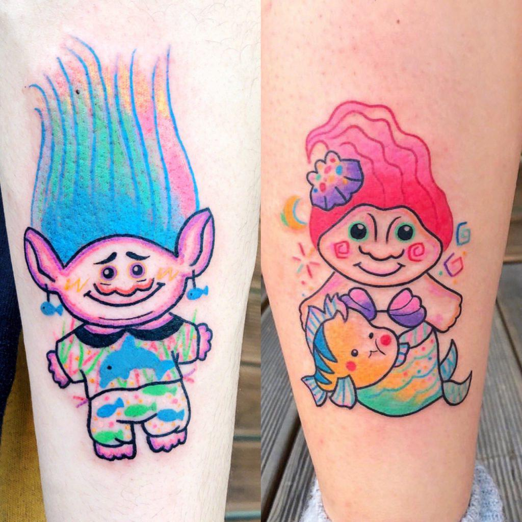 Funny and cute cartoon tattoos #tattoos #cartoontattoos