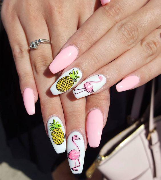 53 Tropical Flamingo Nail Art Ideas - Page 13 of 53 - Kornelia Beauty