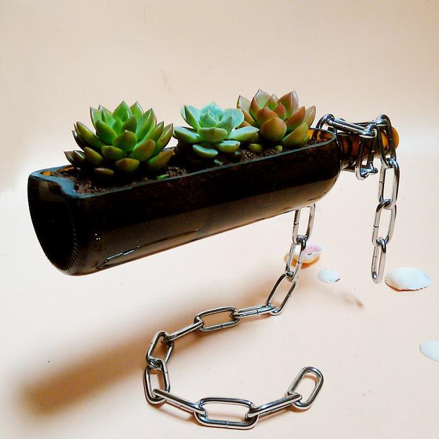 Creative home succulent flower pots, hanging beer bottles creative, this is a creative flower pot - SooPush